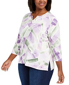 Plus Size Loire Valley Abstract Geo-Print Top