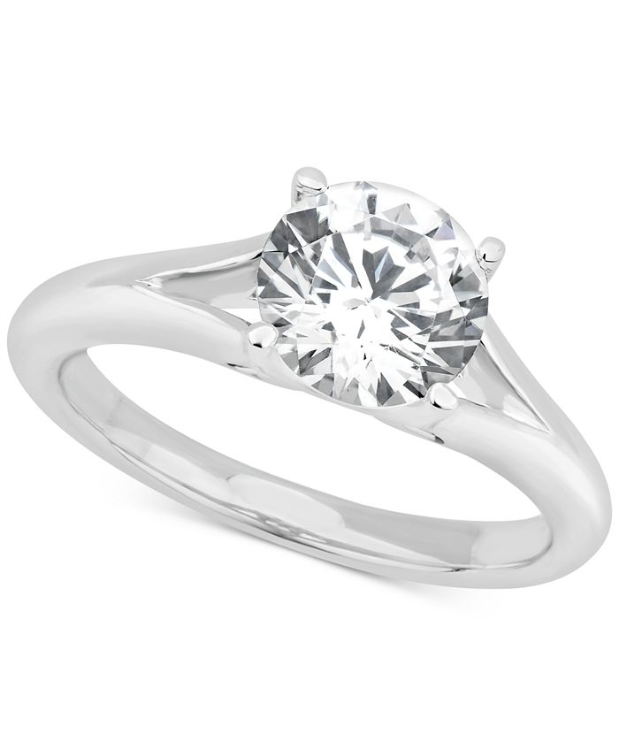 GIA Certified Diamonds - Certified Diamond Solitaire Engagement Ring (1-1/2 ct. t.w.) in 14k White Gold