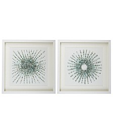 Starburst Aventurine Stones Wall Art in Matted White Shadowbox Frame - Set of 2