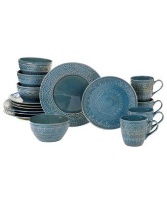 Aztec Teal 16-Pc. Dinnerware Set