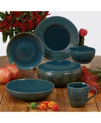 Aztec Teal 6-Pc. Canape Plates