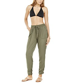 Smocked-Waist Swim Cover-Up Pants