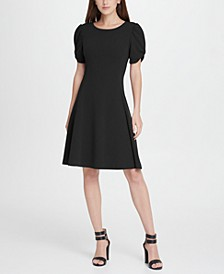 Knot Puff Sleeve Fit  Flare Dress