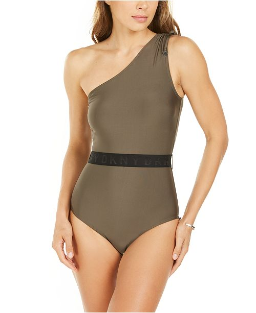 DKNY Belted One-Shoulder Tummy-Control One-Piece Swimsuit