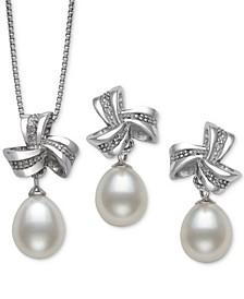 2-Pc. Set Cultured Freshwater Pearl (7mm) & Diamond Accent Pendant Necklace & Matching Drop Earrings in Sterling Silver