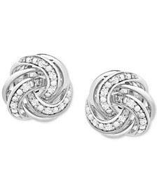 Diamond Love Knot Stud Earrings (1/10 ct. t.w.) in Sterling Silver