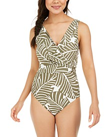 Printed Draped Wrap Tummy-Control One-Piece Swimsuit
