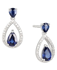 Sapphire (1-1/5 ct. t.w.) & Diamond (1/20 ct. t.w.) Openwork Teardrop Drop Earrings in Sterling Silver