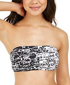 City Tag Logo-Print Bandeau Bikini Top