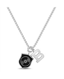 "Enamel Shield and ""B"" Charm Men's Necklace"