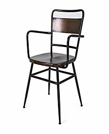 Metal Arm Chair with Slanted Back and Flared Out Legs