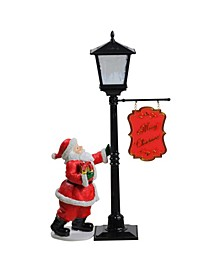 "14.5"" Mini Snowing Street Lamp and Santa Claus Christmas Table Top Display"
