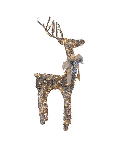 """Northlight 48"""" Pre-Lit Standing Rattan Reindeer with Red Bow and Pine Cones Christmas Outdoor Decoration"""