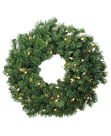 Deluxe Windsor Pine Artificial Christmas Wreath - 24-Inch Clear Lights