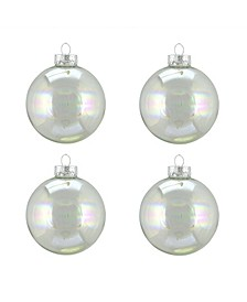 """4ct Clear Iridescent Glass Ball Christmas Ornaments 3"""" 80mm"""