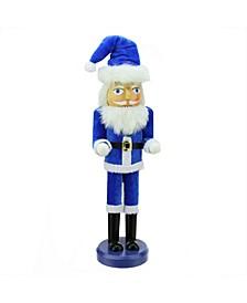 "14"" Decorative Blue and White Hanukkah Santa Wooden Holiday Nutcracker"