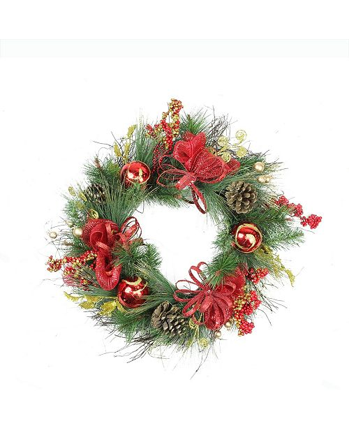 """Northlight 26"""" Red Ornament and Berry Gold Glittered Artificial Christmas Wreath - Unlit"""