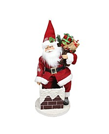 """16.5"""" Animated Santa Claus Going Down a Chimney with Gifts Christmas Decoration"""