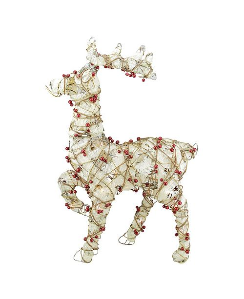 Northlight Lighted Standing Burlap and Berry Rattan Reindeer Christmas Outdoor Decoration