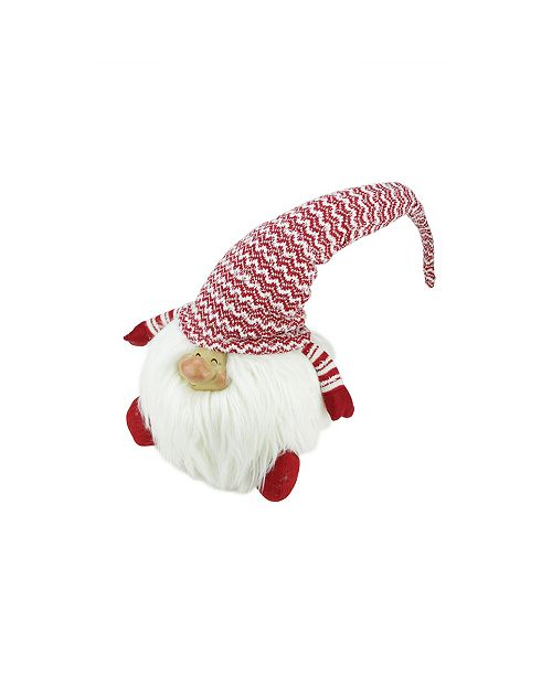 """Northlight 14.75"""" Red and White """"Chipper Chester"""" Sitting Chubby Santa Gnome Table Top Christmas Figure"""