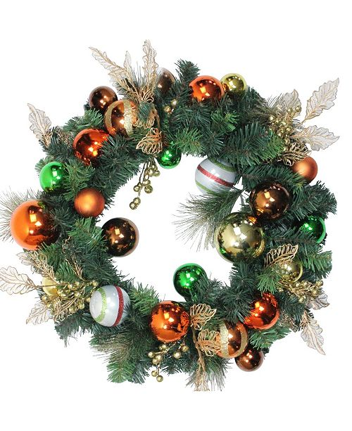 """Northlight 24"""" Green Foliage and Assorted Copper Ornaments Wreath - Unlit"""