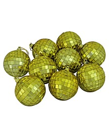 """9ct Gold Mirrored Glass Disco Ball Christmas Ornaments 2.5"""" 60mm"""