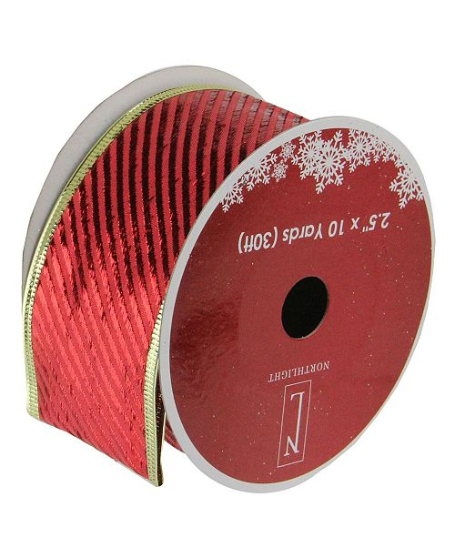 "Northlight Pack of 12 Shiny Red Diagonal Striped Gold Wired Christmas Craft Ribbon Spools - 2.5"" x 120 Yards Total"