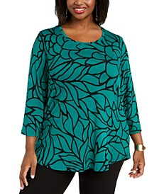 Petite Printed 3/4-Sleeve Top, Created for Macy's