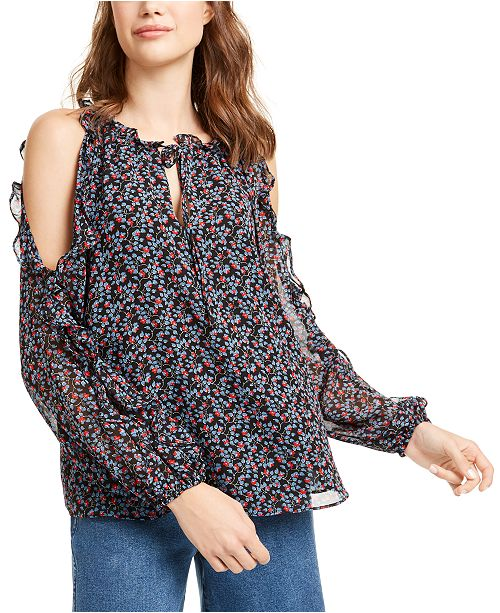 1.STATE Ruffled Printed Cold-Shoulder Top