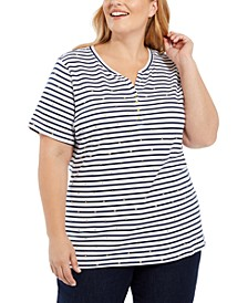 Plus Size Printed Short-Sleeve Henley Top, Created For Macy's