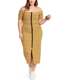 Planet Gold Trendy Plus Size Juniors' Off-The-Shoulder Dress