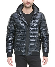 Men's Quilted Pearlized Nylon Hooded Bomber Jacket, Created For Macy's