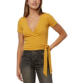 Juniors' Tabby Cropped Wrap Top