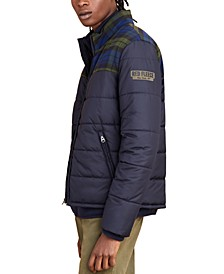 Men's Red Fleece Colorblock Puffer Jacket
