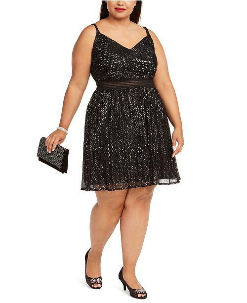 Trendy Plus Size Juniors\' Metallic Fit & Flare Dress