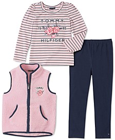 Little Girls 3-Pc. Fleece Vest, Striped Top & Leggings