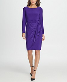 Jersey Ruched Waist Ruffle Sheath Dress