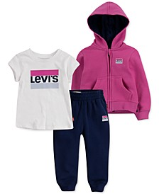 Toddler Girls 3-Pc. Hooded Jacket, T-Shirt & Jogger Pants Set