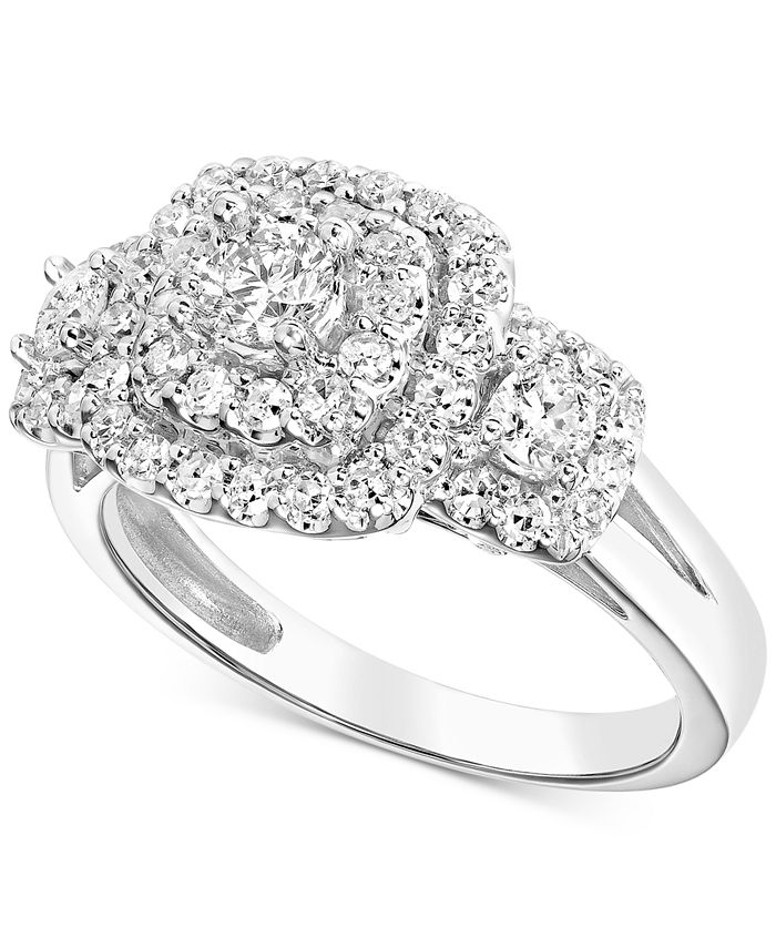 Macy's - Diamond Multi-Halo Engagement Ring (1 ct. t.w.) in 14k White Gold