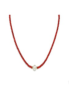 White Cultured Pearl (9-10 mm) and Red Coral (43 1/2 ct. t.w.) Strand Necklace in 14k Yellow Gold