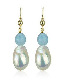White Freshwater Cultured Pearl (11-14mm) and Blue Aquamarine (9 1/ 2 ct. t.w) Dangle Earrings in 14k Yellow Gold