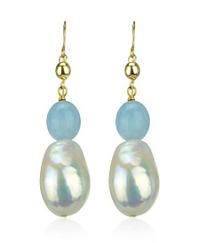 White Freshwater Cultured Pearl (11-14mm) and Blue Aquamarine (9 1/ 2 ct. t.w) Dangle Earrings in 14k Yellow Gold (Also available in Red Coral)