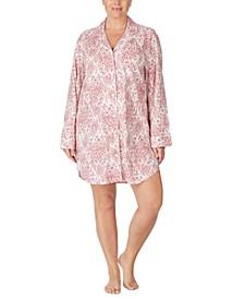 Plus Size Cotton Printed Sleep Shirt