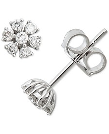 Diamond Floral Starburst Stud Earrings (1/2 ct. t.w.) in 14k White Gold
