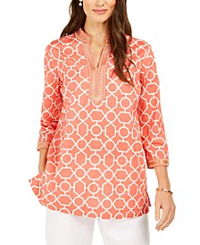 Embroidered-Trim Printed Tunic, Created For Macy's