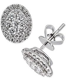 Diamond Oval Cluster Stud Earrings (1 ct. t.w.) in 14k White Gold