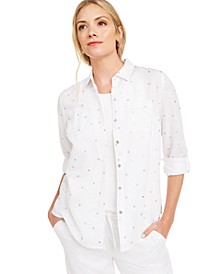Petite Linen Foiled-Dot Shirt, Created for Macy's