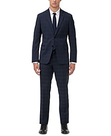 Men's Modern-Fit Navy Windowpane Suit Separates