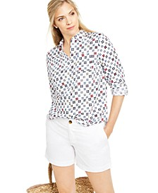 Printed Roll-Tab Sleeve Linen-Blend Top, Created For Macy's
