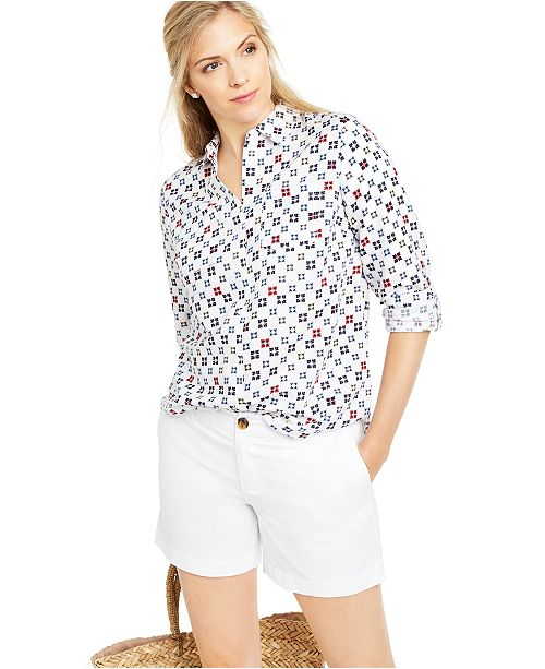 Charter Club Printed Roll-Tab Sleeve Linen-Blend Top, Created for Macy's